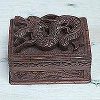 Walnut jewelry box, 'Brave Dragon' - Fair Trade Wood Jewelry Box from India