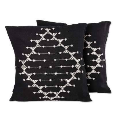 Cotton cushion covers, 'Starlit Galaxy' (pair) - Cotton Patterned Black and White Cushion Covers (Pair)