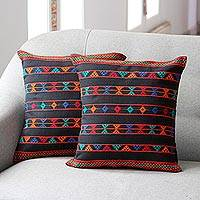 Cotton cushion covers, 'Summer Jazz' (pair) - Artisan Crafted Cotton Patterned Cushion Covers (Pair)