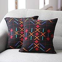 Cotton cushion covers, 'Mystical Algorithm' (pair) - Hand Crafted Cotton Cushion Covers (Pair)