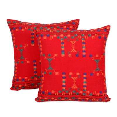 Cotton cushion covers, 'Sequences' (pair) - Cotton Red Cushion Covers Set 2 Throw Pillows