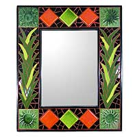 Mirror, 'Green Sunflower Magic' - Artisan Crafted Mosaic Tile Wall Mirror from India