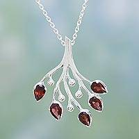 Garnet floral necklace, 'Rosebuds' - Hand Made Sterling Silver with Garnet Necklace from India