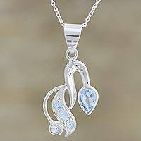 Blue topaz pendant necklace, 'Cool and Fresh' - Silver Blue Topaz Pendant Necklace