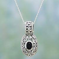 Onyx pendant necklace, 'Mughal Secrets' - Hand Crafted Indian Sterling Silver and Onyx Necklace