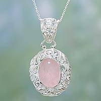 Rose quartz pendant necklace, 'Promise' - Hand Crafted Rose Quartz Pendant Necklace