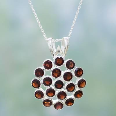 Garnet pendant necklace, 'Fire Flower' - Garnet pendant necklace