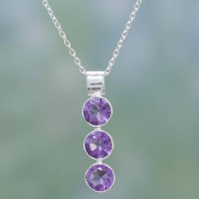 Amethyst pendant necklace, 'Lilac Trio' - Hand Made Amethyst and Sterling Silver Necklace from India