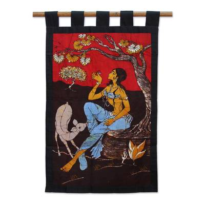 Batik cotton wall hanging, 'Girl in the Garden' - Fair Trade Cotton Wall Hanging in Batik from India