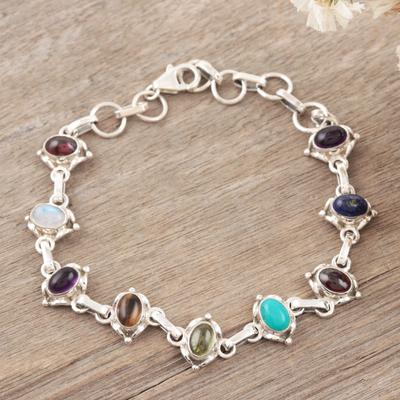 Lapis and rainbow moonstone tennis bracelet, 'Color Medley' - Sterling Silver Link Multigem Bracelet from India