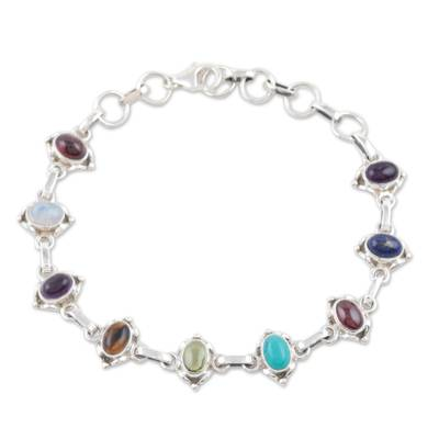 Sterling Silver Link Multigem Bracelet from India