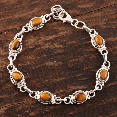 Tiger's eye link bracelet, 'Exotic Earth' - Sterling Silver and Tigers Eye Link Bracelet
