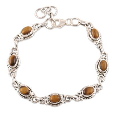 Sterling Silver and Tigers Eye Link Bracelet