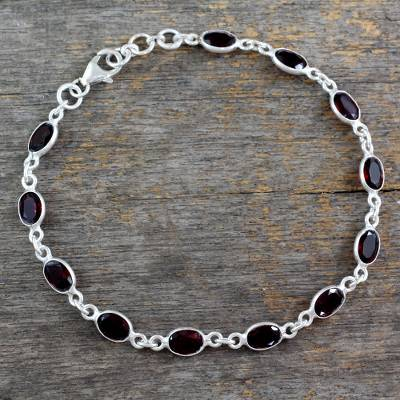 Garnet tennis bracelet, 'Romantic Red' - Garnet Tennis Bracelet Sterling Silver Handmade in India