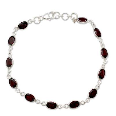 Garnet Tennis Bracelet Sterling Silver Handmade in India