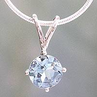 Topaz pendant necklace, 'Blue Lagoon' - Unique Silver Necklace with Blue Topaz Gemstone Pendant