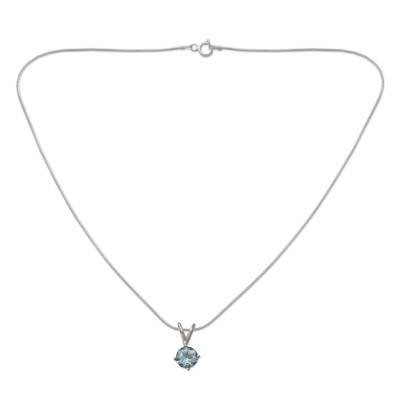Sterling Silver and Blue Topaz Necklace from India