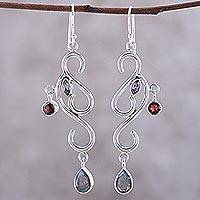 Garnet and amethyst chandelier earrings, 'Modern Ivy' - Artisan Crafted Garnet and Labradorite Earrings