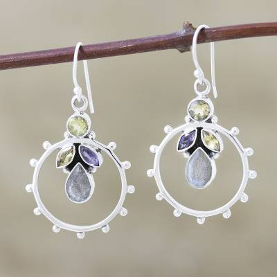 Citrine and iolite dangle earrings, 'Eternity' - Citrine and iolite dangle earrings