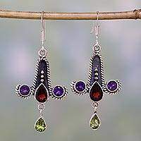 Amethyst and peridot dangle earrings, 'Equilibrium' - Amethyst and peridot dangle earrings