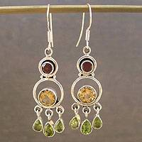 Citrine and peridot chandelier earrings, 'Altogether' - Citrine and Peridot Silver Chandelier Earrings