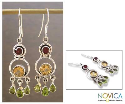 Citrine and peridot chandelier earrings, Altogether