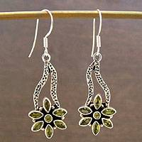 Peridot flower earrings, 'Daisy Path' - Peridot flower earrings