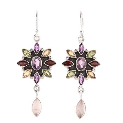 Multi-gemstone flower earrings, 'Precious Petals' - Floral Multigem Dangle Earrings from India