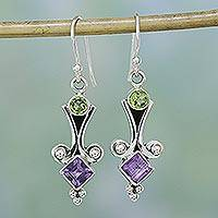 Peridot and amethyst dangle earrings, 'Happiness' - Sterling Silver Peridot and Amethyst Earrings from India
