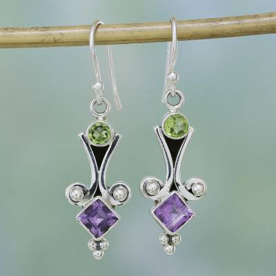 Peridot and amethyst dangle earrings, 'Wellspring of Happiness' - Sterling Silver Peridot and Amethyst Earrings from India