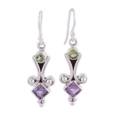 Sterling Silver Peridot and Amethyst Earrings from India