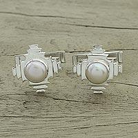 Pearl cufflinks, 'Pyramids'