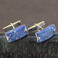 Lapis lazuli cufflinks, 'Blue Intensity'
