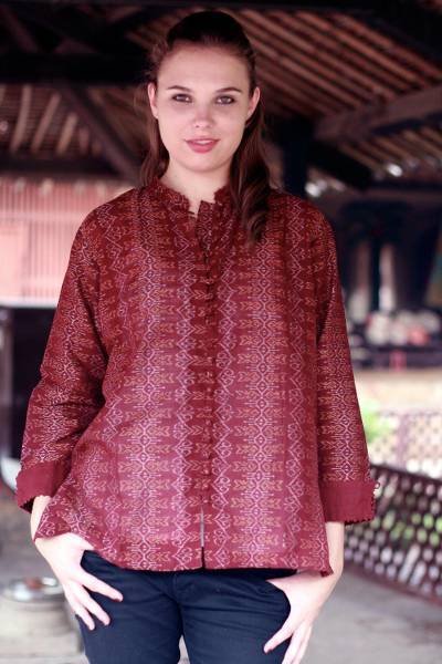 Cotton blouse, 'Ikat Stars' - Hand Made Women's Geometric Cotton Patterned Blouse Top