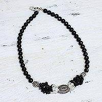 Onyx and moonstone strand necklace, 'Treasure' - Bollywood Styled Moonstone and Onyx Sterling Silver Necklace
