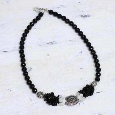 Onyx and moonstone strand necklace, 'Treasure' - Onyx and moonstone strand necklace