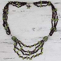 Garnet and jasper strand necklace, 'Goddess of the Valley' - Garnet Jasper and Peridot Multi-Strand Necklace