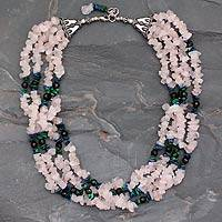 Rose quartz and lapis lazuli torsade necklace, 'Harmony' - Rose quartz and lapis lazuli torsade necklace