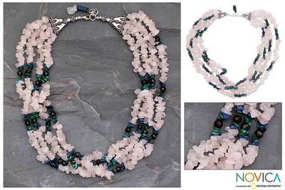 Rose quartz and lapis lazuli torsade necklace, 'Harmony' - Rose quartz and lapis lazuli torsade necklace