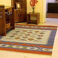 Wool and cotton rug, 'Star Struck' (5x8) - Wool Area Rug 5x8 Dhurrie Artisan Crafted