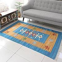 Wool dhurrie rug, 'Summer Blue' (4x6) - Handmade Indian Wool Dhurrie Rug (4x6)