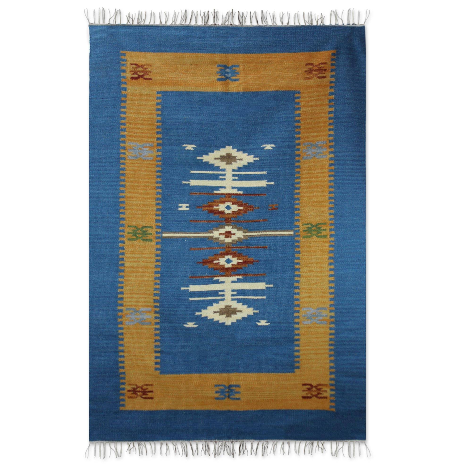 Unicef Uk Market Handmade Indian Wool Area Rug 4x6
