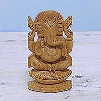 Wood sculpture, 'Ganesha on the Conch Throne' - Hand Carved Hindu Wood Ganesha Sculpture