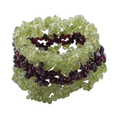 Natural Peridot and Garnet Bracelet from India Jewelry