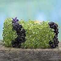 Peridot and amethyst wristband bracelet, 'Summer Joy' - India Beaded Jewelry Natural Gemstone Bracelet