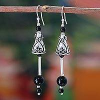 Onyx earrings, 'Palace Bell' - Sterling Silver and Onyx Dangle Earrings
