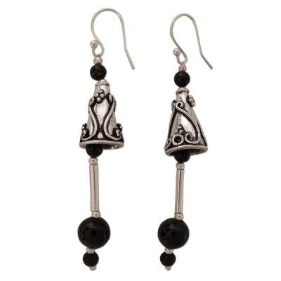 Sterling Silver and Onyx Dangle Earrings