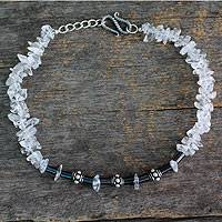 Quartz and hematite anklet, 'Ice Princess' - Sterling Silver with Quartz and Hematite Anklet from India
