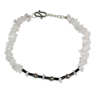 Sterling Silver with Quartz and Hematite Anklet from India