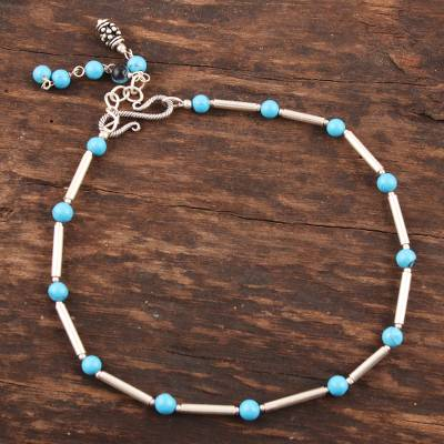 Sterling silver anklet, 'Sky' - Sterling Silver and Recon Turquoise Indian Anklet Jewelry